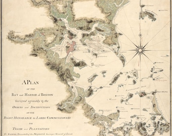 Antique Map Boston Harbor 1775
