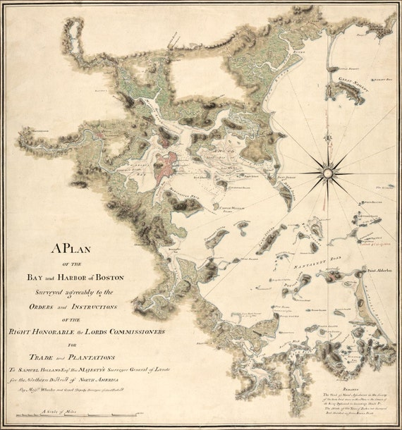 Antique Map Boston Harbor 1775