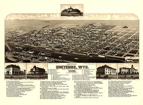 Cheyenne Wyoming Birds Eye View Map 1882