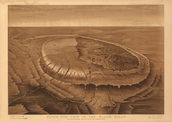 South Dakota Black Hills Drawing USGS 1880 Birds Eye View