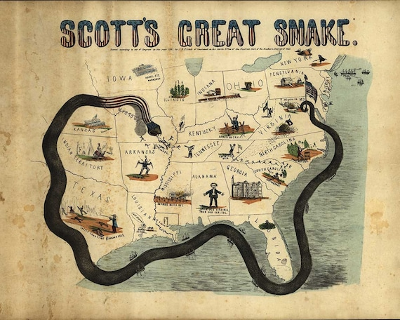 Antique Map - Scott's Great Snake - Civil War  Era - 1861