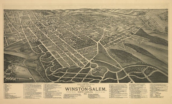 Antique Bird's Eye View Map Winston-Salem North Carolina 1891