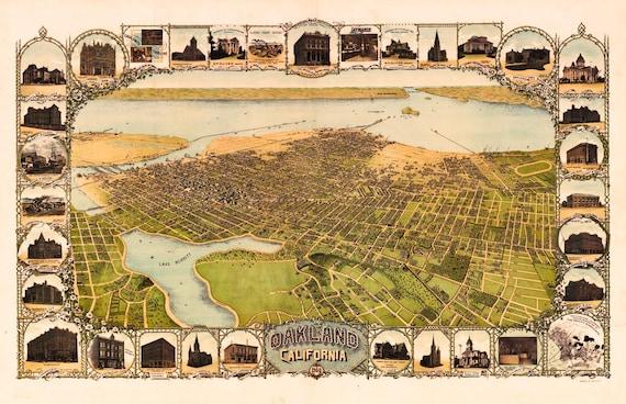 Oakland CA Birds Eye View Map 1900 (c1899)