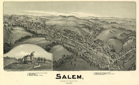 Antique Bird's Eye View Map Salem West Virginia 1899