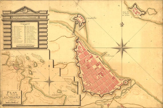 Antique Map Mexico Veracruz 1798