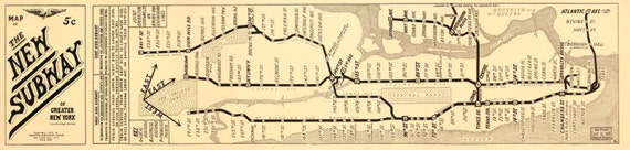 New York Subway Map 1918
