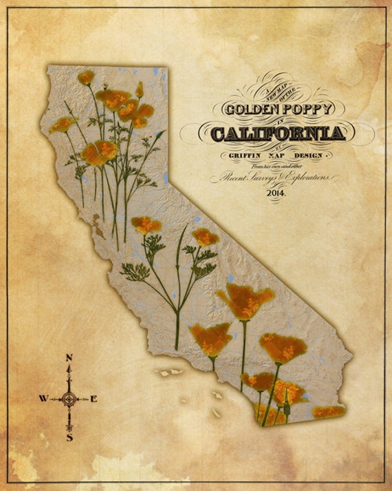 Map of the Golden Poppy in California