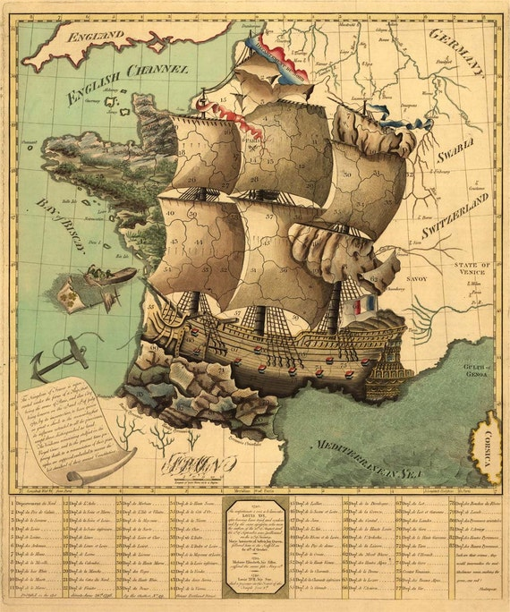 Antique Map France as a Ship 1796