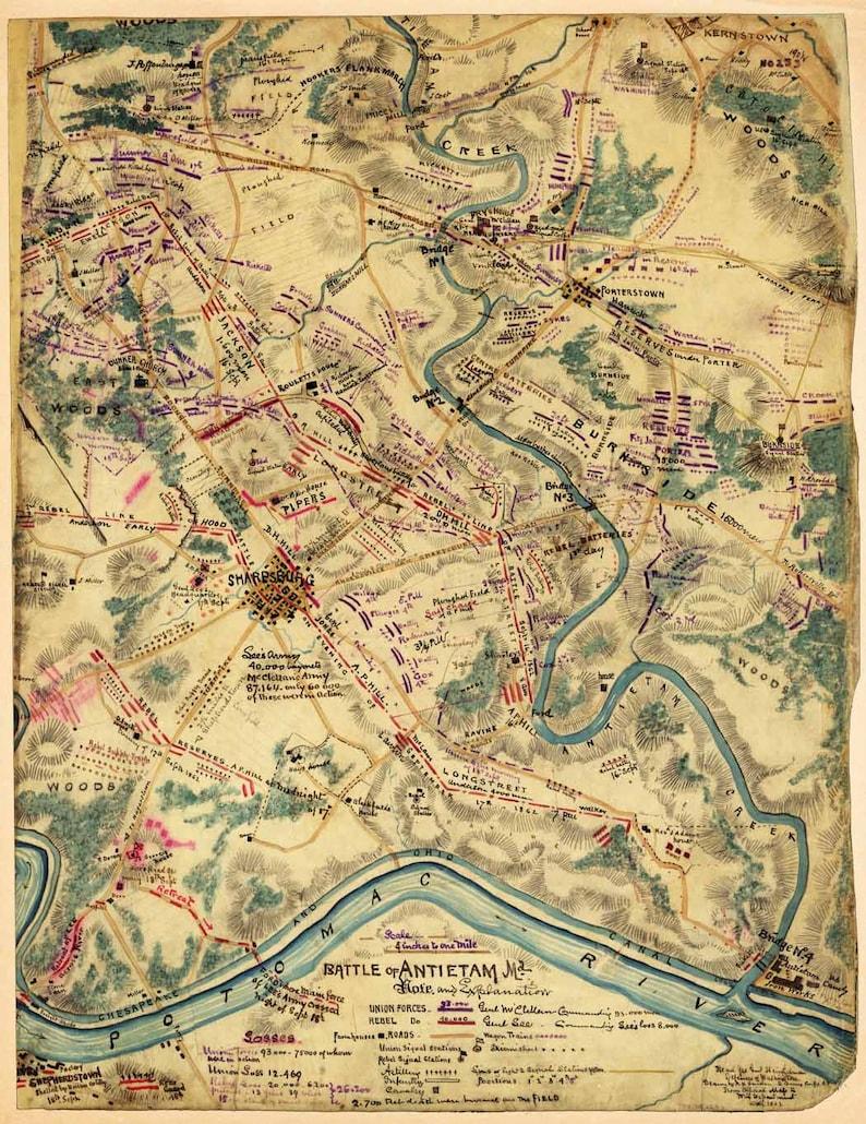 Antique Map Battle of Antietam 1862 Civil War | Etsy on