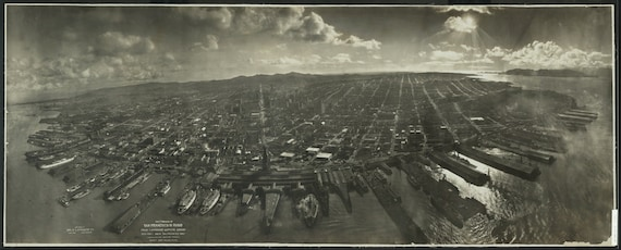 San Francisco Aerial Photograph Panoramic 1906 Earthquake