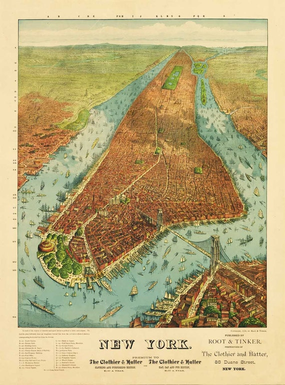Antique Map of New York 1879 Bird's Eye View Portrait