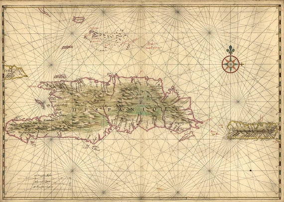 Antique Map of Hispaniola and Puerto Rico 1639