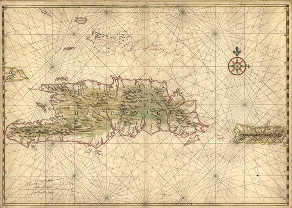 Antique Map of Hispaniola and Puerto Rico 1639