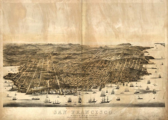 San Francisco CA Birds Eye View Map 1860