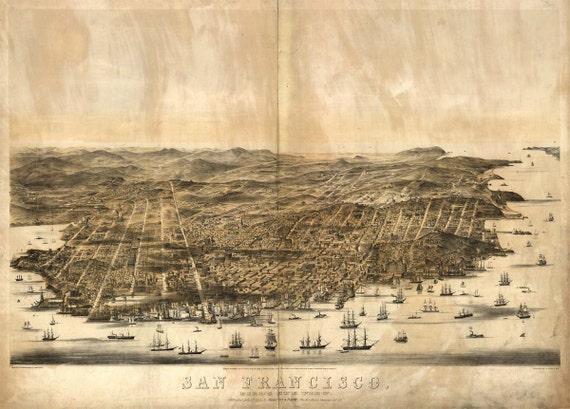 San Francisco CA Birds Eye View Map 1860