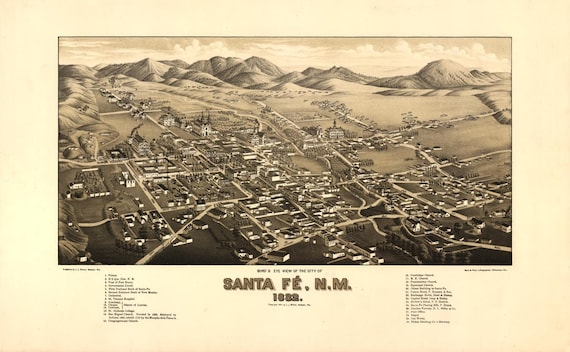 Antique Bird's Eye View Map Santa Fe New Mexico 1882