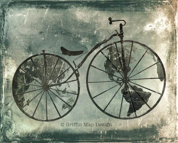 Worldshaker - Antique Bicycle World Map Print