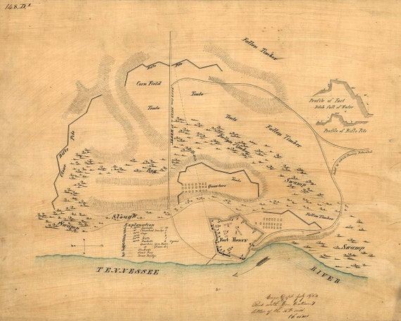 Antique Map Fort Henry 1862 Civil War