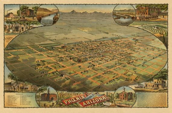 Phoenix AZ Birds Eye View Map 1885