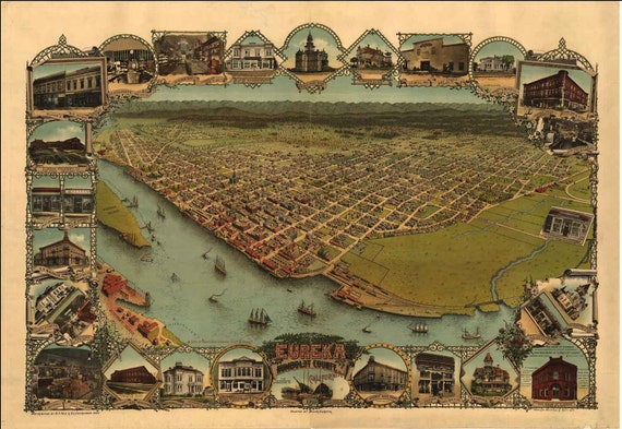 Eureka CA Birds Eye View Map 1902