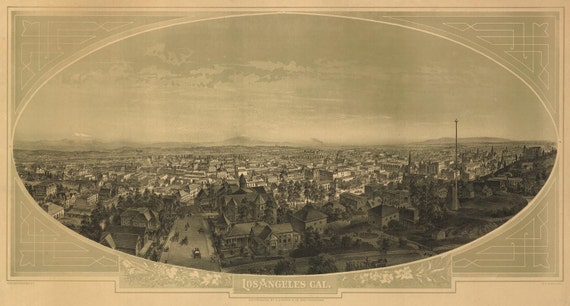 Los Angeles CA Birds Eye View Map 1888