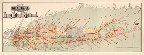 New York Long Island Railroad Map 1895
