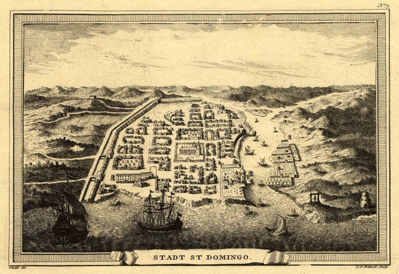 Antique Map Santo Domingo Dominican Republic 1755