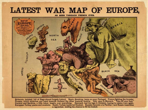 Latest War Map of Europe 1870 as seen through French eyes