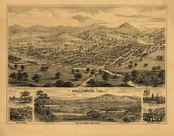 Antique Map Healdsburg CA 1876