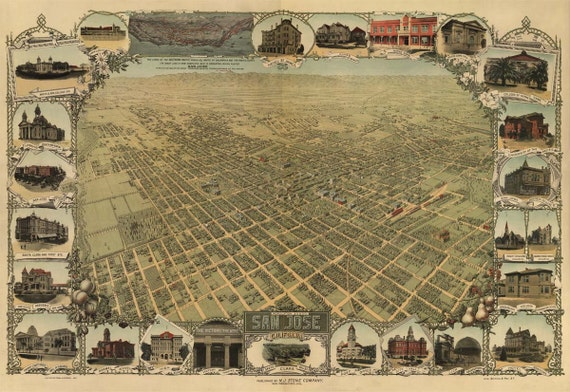 San Jose CA Birds Eye View Map 1901