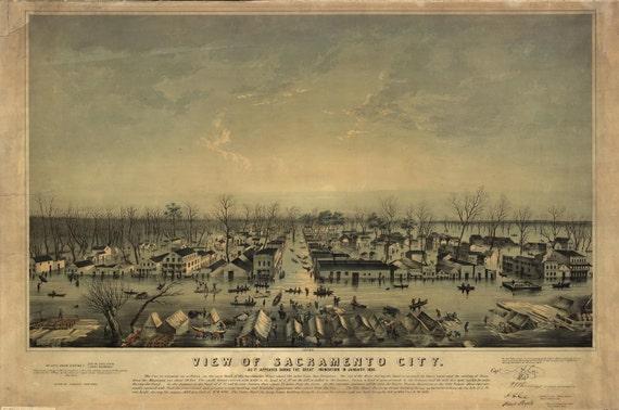 Sacramento CA Birds Eye View Flood Inundation Map 1850