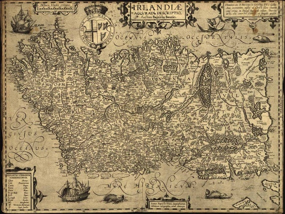 Antique Map of Ireland 1606