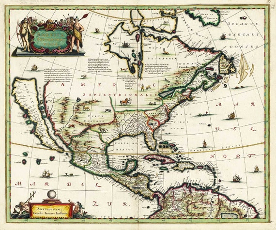 Antique Map of North America 1652