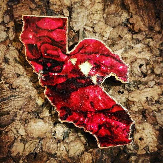 California Bear Inlaid Wood Pin - Red