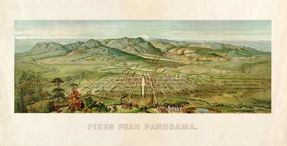 Antique Bird's Eye View Map Pikes Peak Panorama Colorado Springs 1890