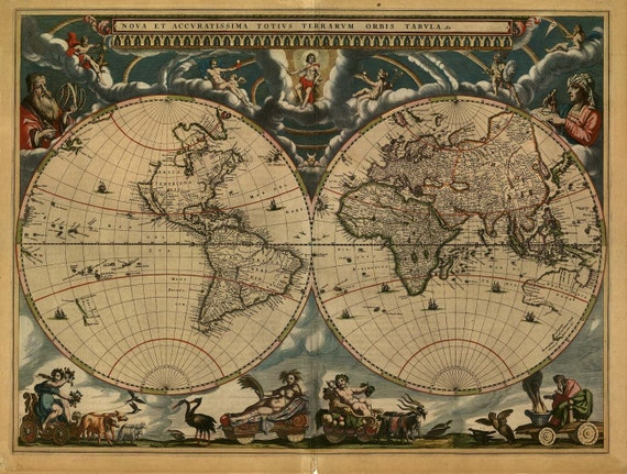 Antique World Map 1664