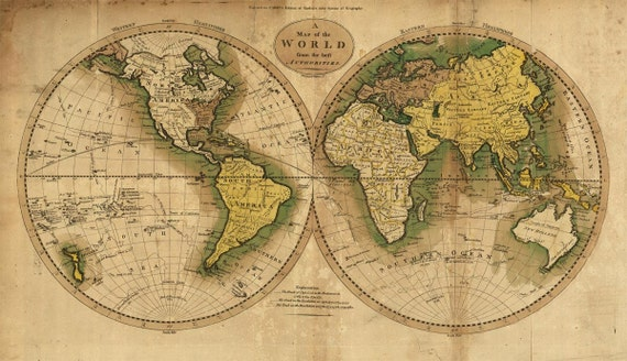 Antique World Map 1795