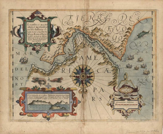 Tierra Del Fuego Argentina Chile Map 1611 (Straight of Magellan)