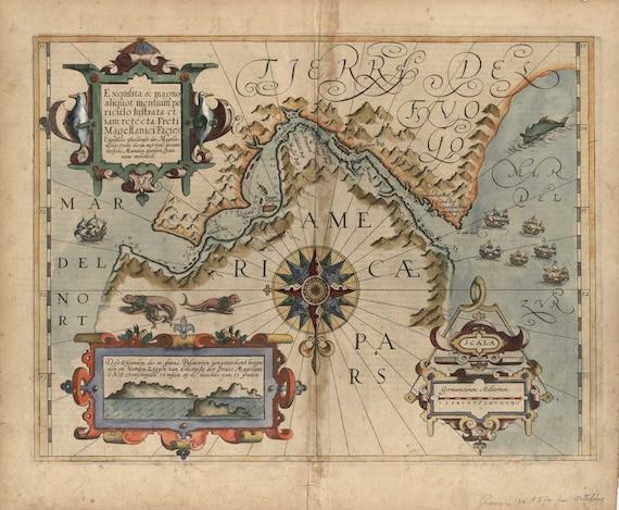 Tierra Del Fuego Argentina Chile Map 1611 (Straight of Magellan)