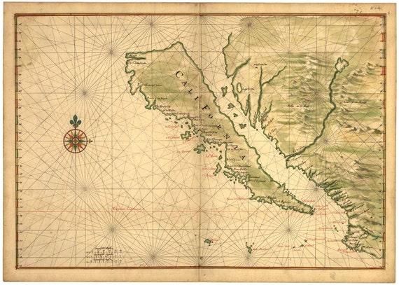 Antique Map of California 1650 as an Island