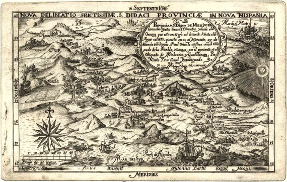 Birds Eye View Map Mexico 1682