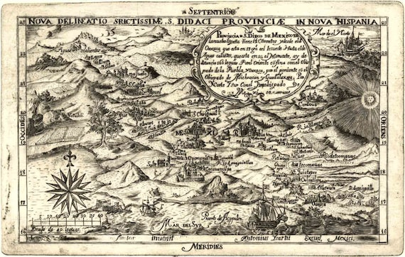 Birds Eye View Map Mexico 1682