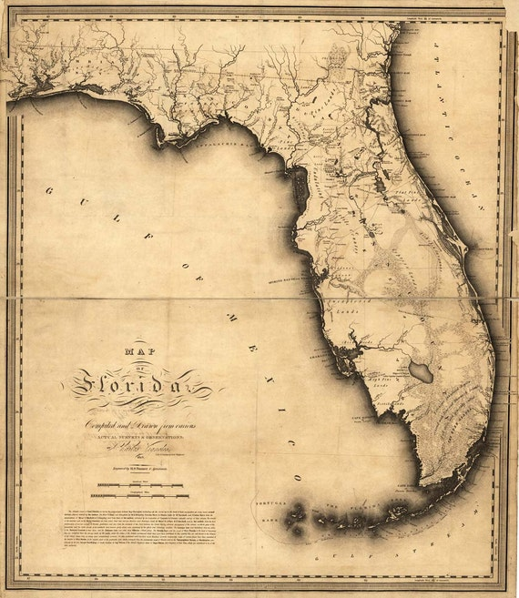 Antique Florida Map 1894-1895