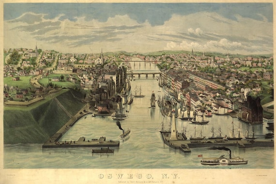 Oswego New York Birds Eye View Map 1855