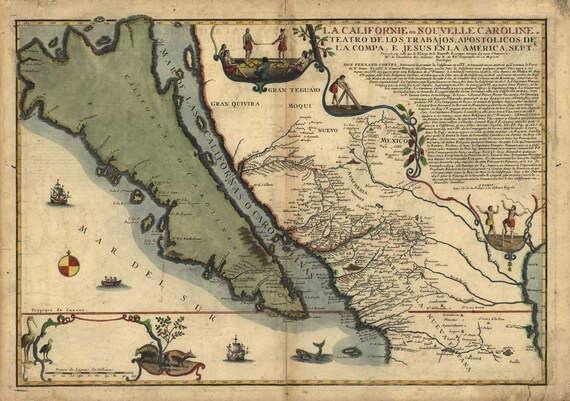 Antique Map of California and Mexico 1720