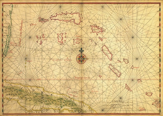 Antique Map of Cuba and the Bahamas 1650