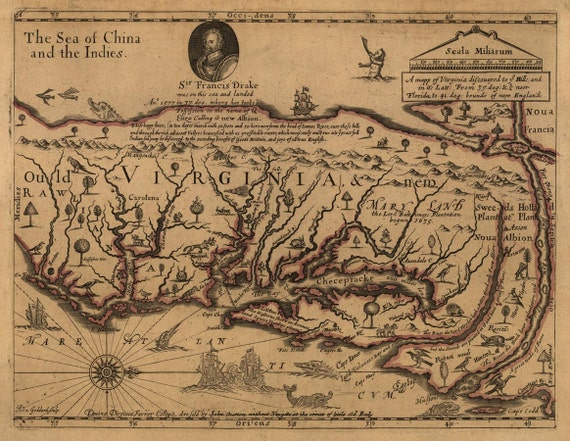 Antique Map of Virginia 1667 Sir Francis Drake