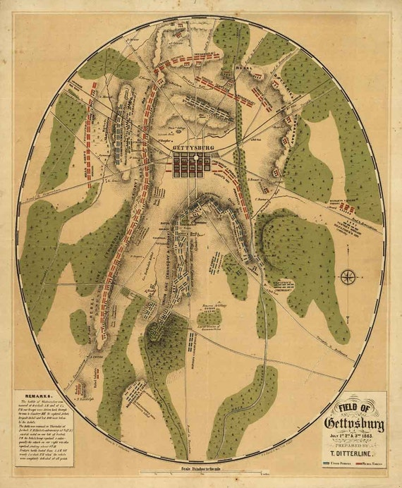 Antique Map Battle of Gettysburg 1863 Civil War - CANVAS