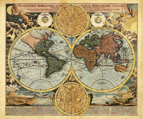 Antique World Map 1716