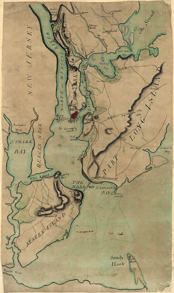 Antique Map of New York Staten Island and Long Island 1780s